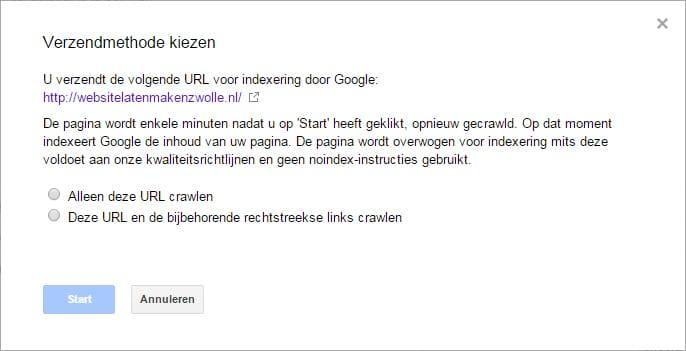url vezenden voor indexering door google